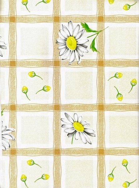 wachstuch decke m404 7 margerite im karo beige eckig. Black Bedroom Furniture Sets. Home Design Ideas