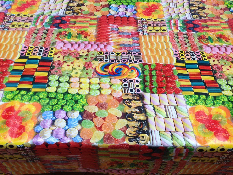wachstuch tischdecke c147140 candy s igkeiten rund. Black Bedroom Furniture Sets. Home Design Ideas