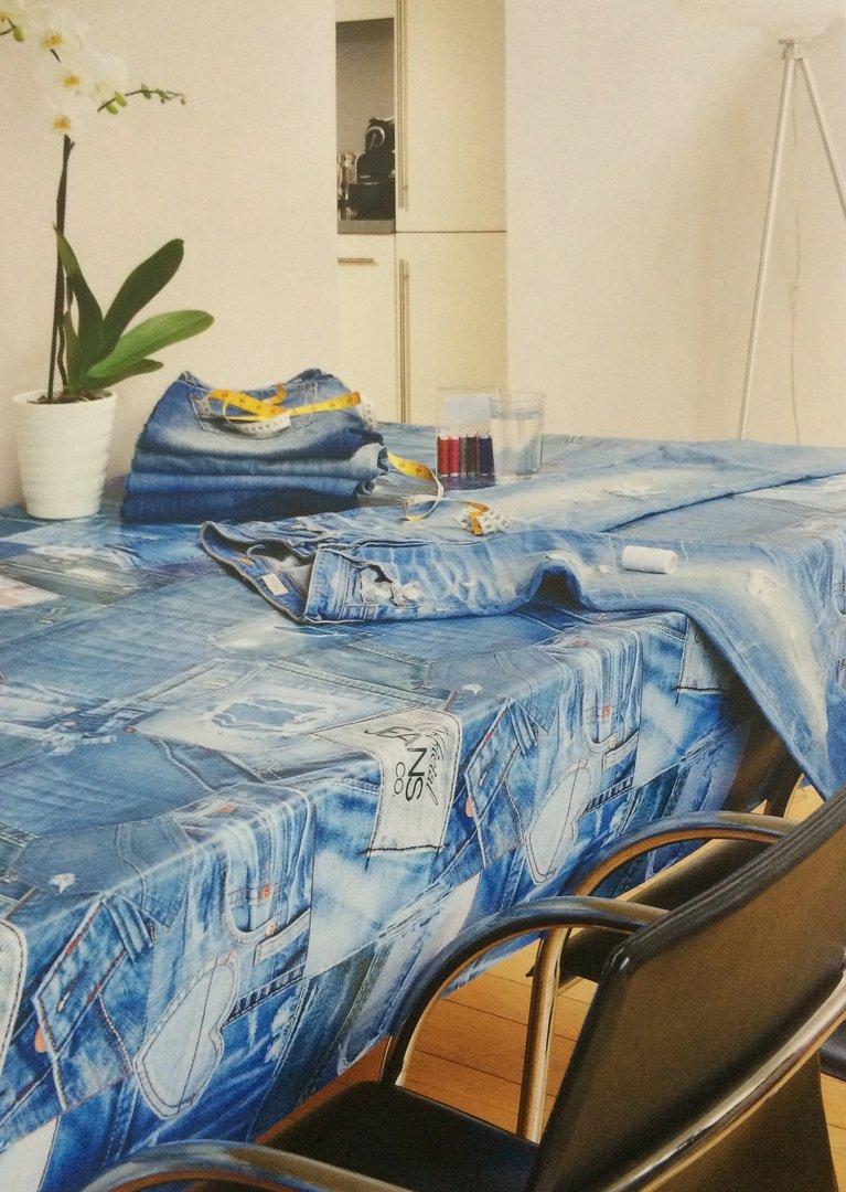 wachstuch tischdecke meterware modern k150023 jeans eckig rund oval. Black Bedroom Furniture Sets. Home Design Ideas