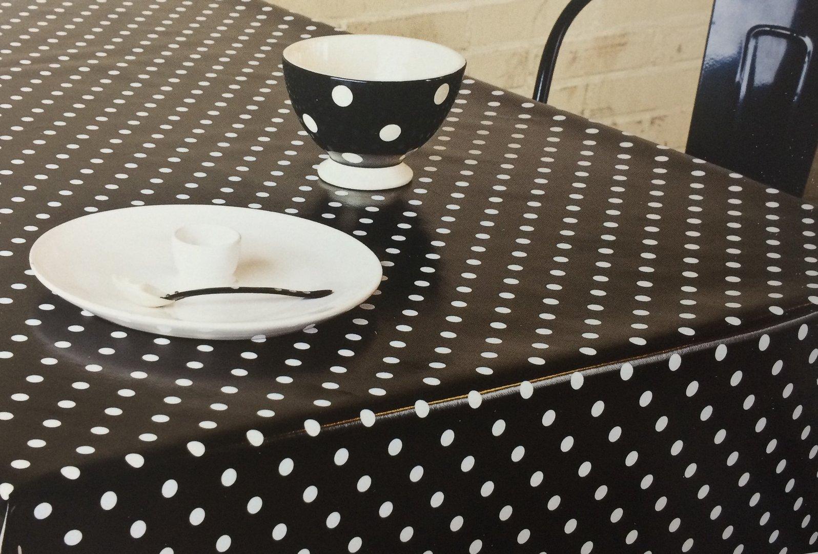 wachstuch tischdecke meterware modern punkte schwarz eckig rund oval. Black Bedroom Furniture Sets. Home Design Ideas