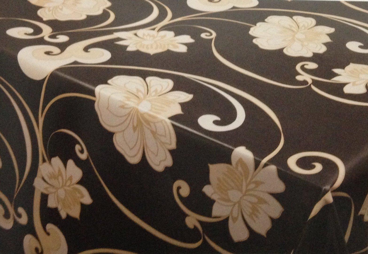 wachstuch tischdecke meterware modern k150173 floral gold schwarz eckig rund oval. Black Bedroom Furniture Sets. Home Design Ideas