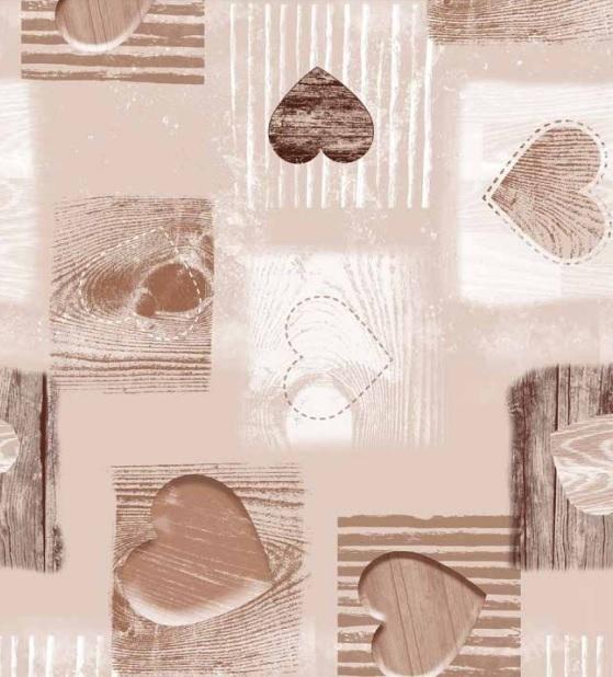 wachstuch tischdecke meterware c146122 herz holzoptik beige braun eckig. Black Bedroom Furniture Sets. Home Design Ideas