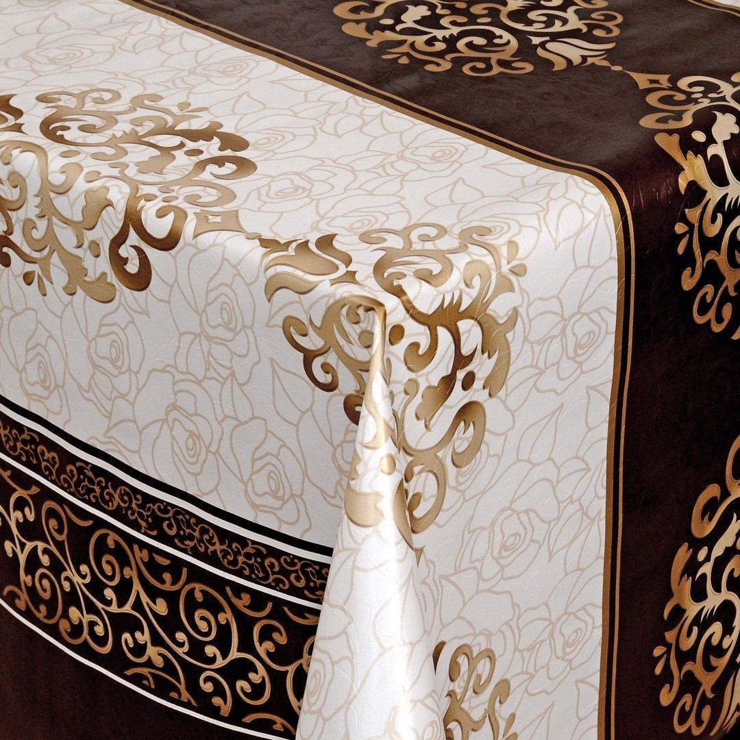 wachstuch tischdecke meterware barock elegant braun gold weiss 05001 01 eckig rund oval. Black Bedroom Furniture Sets. Home Design Ideas