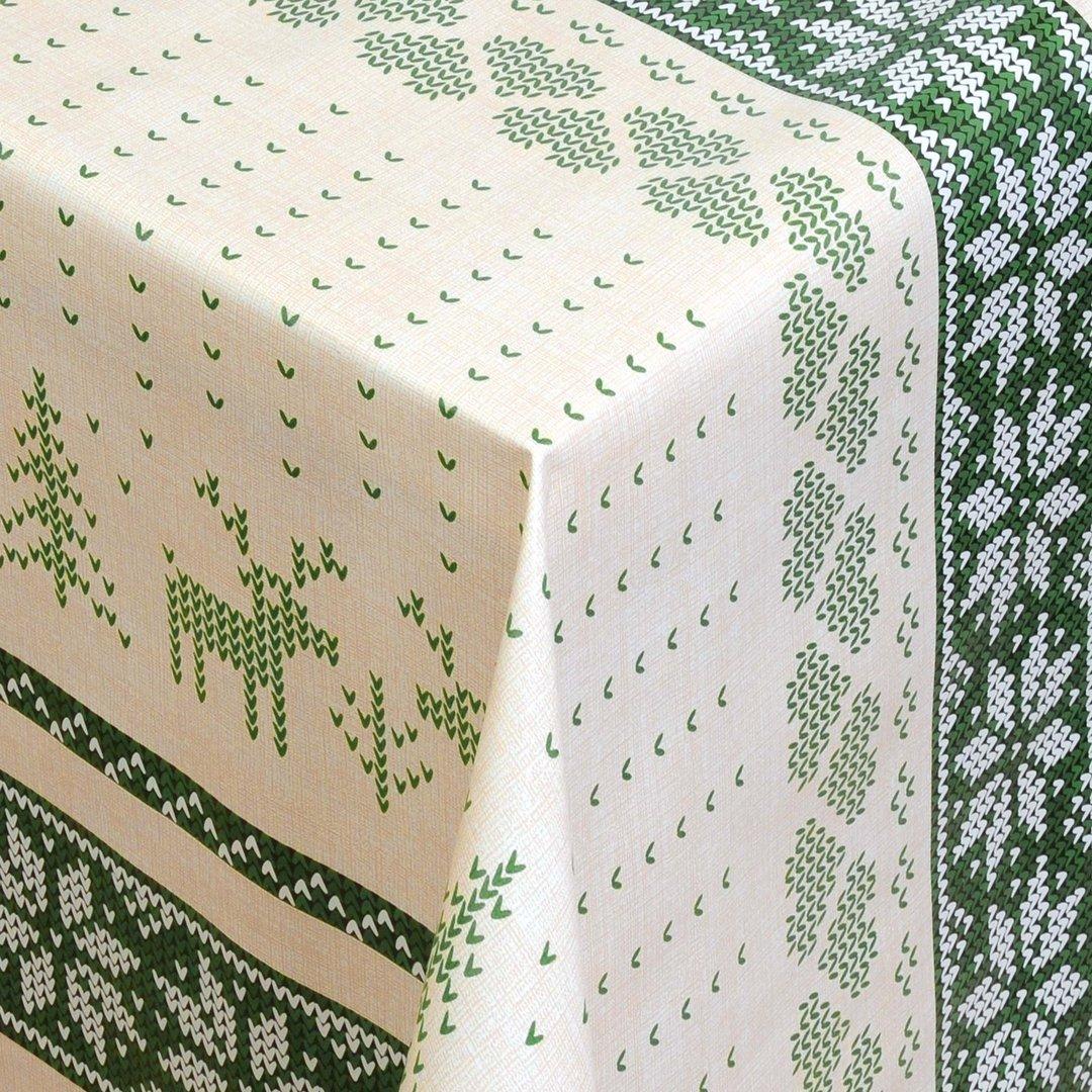 wachstuch tischdecke meterware weihnachten rentier gr n 01231 03 eckig rund oval. Black Bedroom Furniture Sets. Home Design Ideas