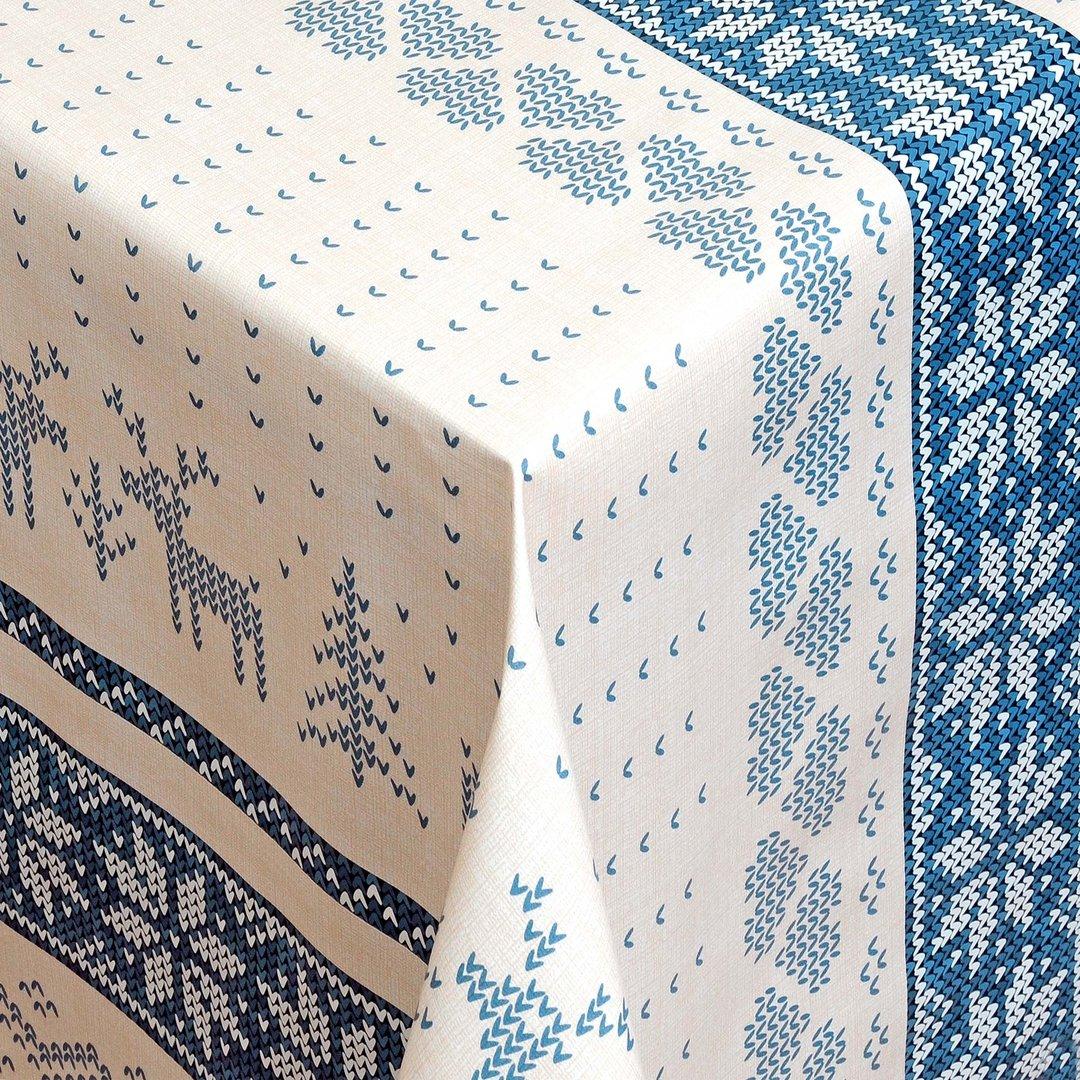wachstuch tischdecke meterware weihnachten rentier blau 01231 04 eckig rund oval. Black Bedroom Furniture Sets. Home Design Ideas