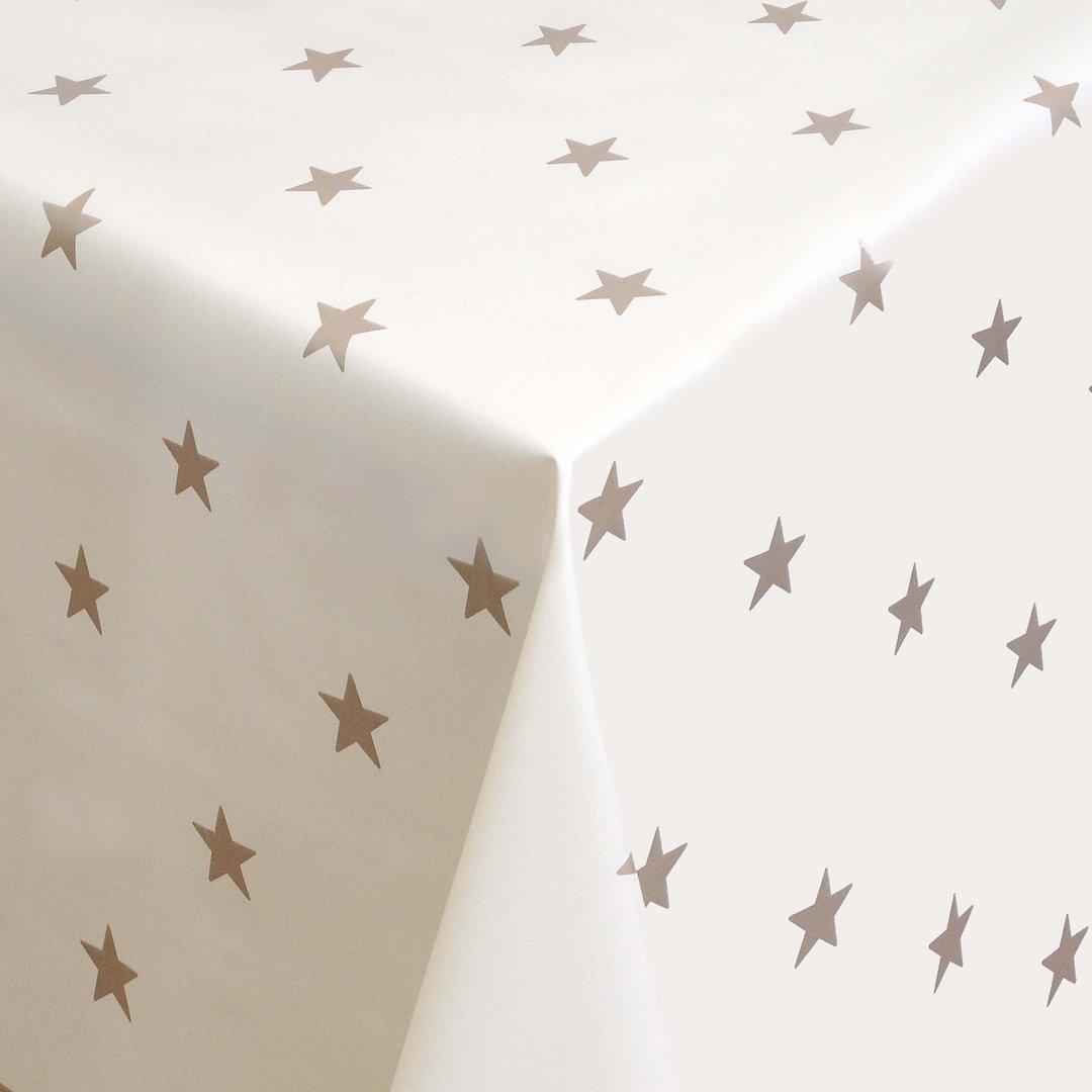 wachstuch tischdecke meterware weihnachten sterne gold auf beige 01280 06 eckig rund oval. Black Bedroom Furniture Sets. Home Design Ideas