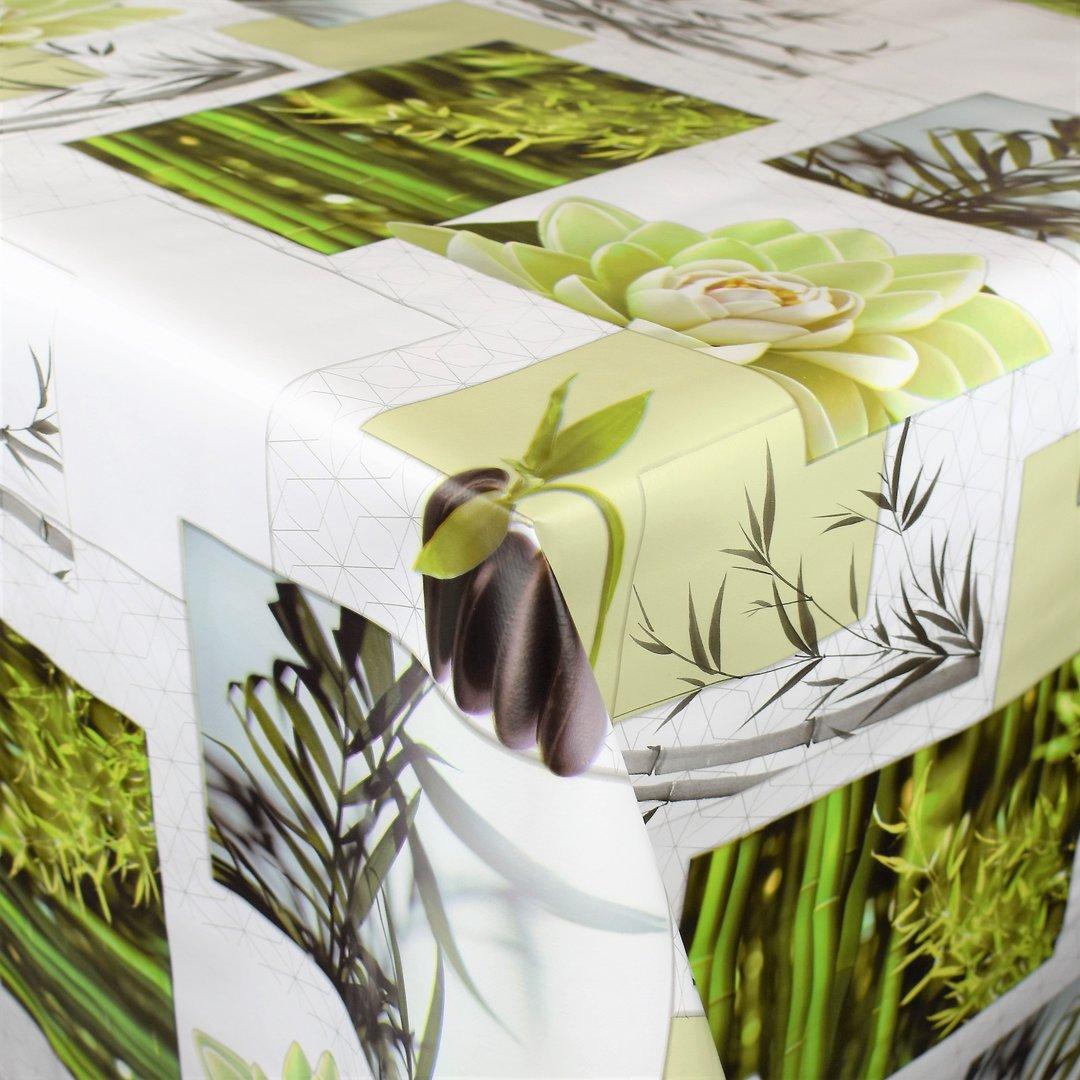 Wachstuch Tischdecke Meterware MODERN Wellness Nature Steine Bambus BU40 eckig rund oval